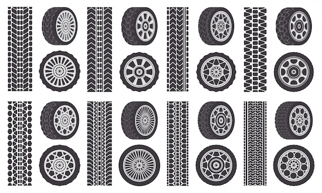 車のタイヤ。トラックトレース、自動車のホイールリム、自動車のトレッドトラック。ゴム製ホイールタイヤシンボルイラストセット。ラバーシルエットタイヤ、スピードトランスポートプリント