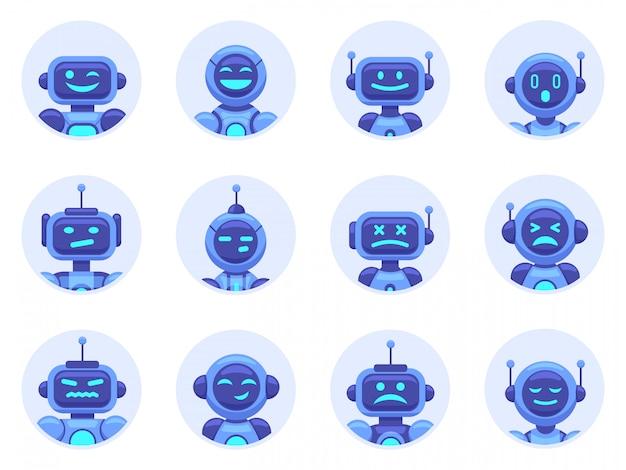 チャットボットのアバター。ロボットデジタルアシスタントのアバター、コンピューターオンラインアシスタンスボット、仮想マシンヘルプボットイラストアイコンセット。サイバーサポート、サービス仮想ボット、チャットロボット
