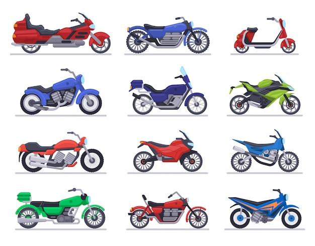 バイクモデル。オートバイ、スクーター、スピードレースバイク、現代のモト車、チョッパーモーター輸送イラストアイコンセット。オートバイの高速輸送と動力輸送