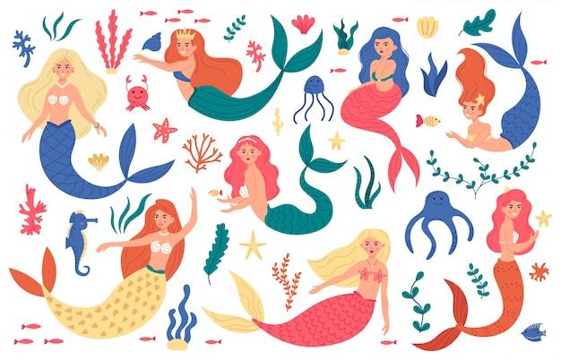 かわいい人魚。人魚姫のキャラクター、手描きの魔法の妖精水中、海洋生物、人魚の女の子と海の要素のイラストセット。人魚姫のキャラクター、水中でかわいい女の子