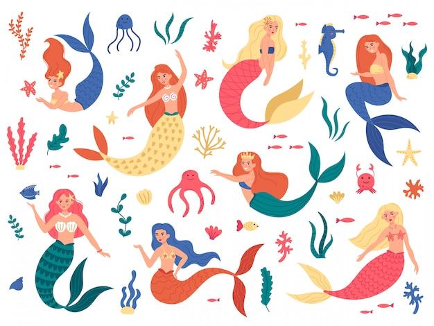 海の人魚。かわいい人魚姫、海の海洋要素を持つ妖精人魚の女の子、手描きの魔法の水中世界イラストセット。タツノオトシゴの水泳、タコ、色の人魚