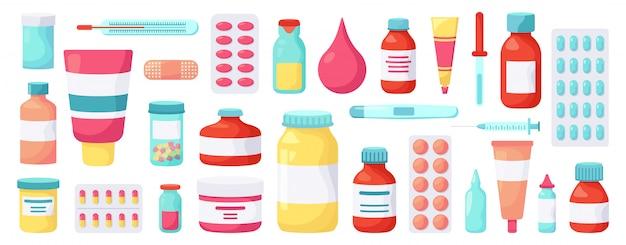 Аптечные препараты. лекарства медицины, фармацевтическое лечение, блистерная упаковка витаминов, установленные значки иллюстрации бутылок пилюлек медицины. лечение и лекарственное лечение витамином