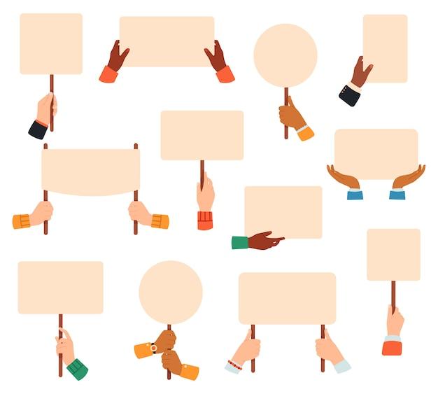 手にプラカード。抗議または症状のバナー、投票のプラカードを持っている手、平和抗議空サインポスターイラストセット。症状の抗議、デモ用のプラカードとバナー