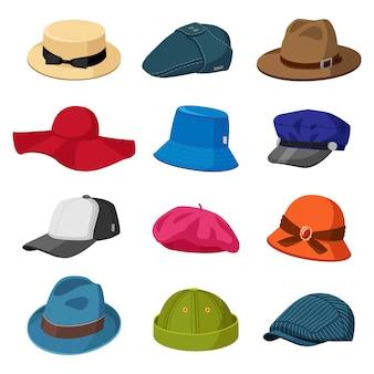帽子の帽子。男性と女性のエレガントな帽子、モダンでレトロなキャップ、スタイリッシュな帽子とキャップ、ファッションアクセサリーイラストアイコンセット。キャップやヘッドドレス、おしゃれなヘッドギアいろいろ