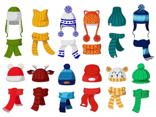 冬の帽子。秋の帽子、スカーフ、寒い気候の子供たちのアクセサリーイラストアイコンセットを編む子供たち。子供ニットスカーフ、アクセサリー帽子、秋っぽい子供服