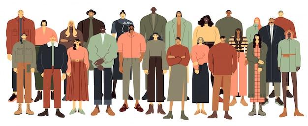 多民族の人々のグループ。多民族の学生の群衆、多国籍の若者が一緒にイラストを立っています。若者の漫画のキャラクター、多文化の男性と女性の白