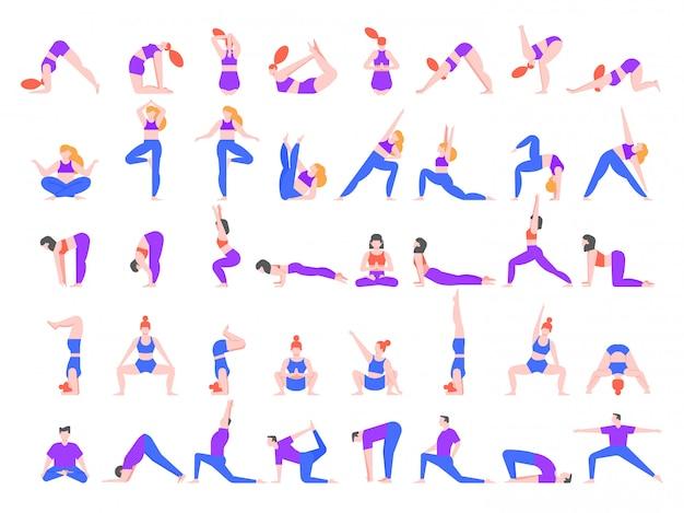 ヨガのアーサナ。ヨガのポーズの練習、若者はバランスを訓練し、瞑想し、ヨガのクラス図でリラックスします。ピラティスの練習、白い背景で隔離のスポーツをしている人々の文字