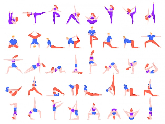 ヨガは人をもたらす。ヨガの練習をしている人々、若い男性と女性のヨガコミュニティイラストセット。瞑想、バランストレーニング、リラクゼーションアーサナコレクション。ピラティスの練習