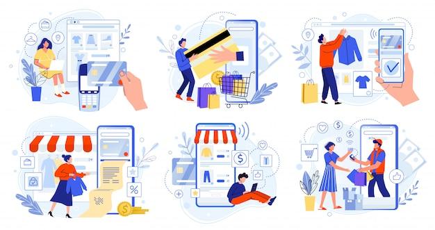 オンラインストア決済。銀行のクレジットカード、安全なオンライン決済、金融請求書。スマートフォンの財布、デジタル有料技術、近代的な小売フラットイラストセット。インターネット支払い