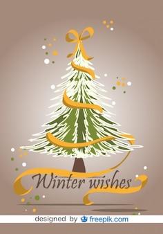 黄色のリボンでクリスマスツリーのイラスト