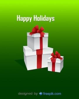 クリスマス白いエレガントなプレゼントベクトル図