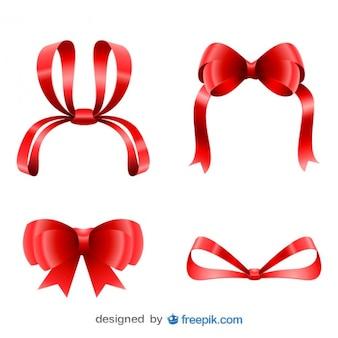 Рождественские милые красные ленты установить