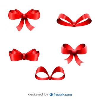 Рождественские красные ленточки пять луки, установленные