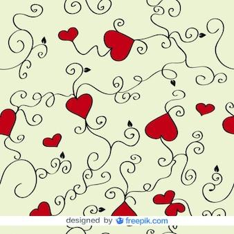 愛の心と渦巻きのベクトルの背景
