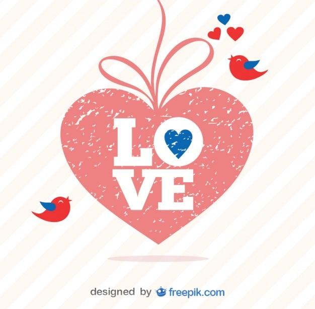 День гранж сердце вектор ретро валентина
