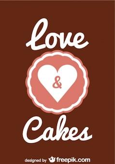 レトロな愛とケーキバレンタインデーのデザイン