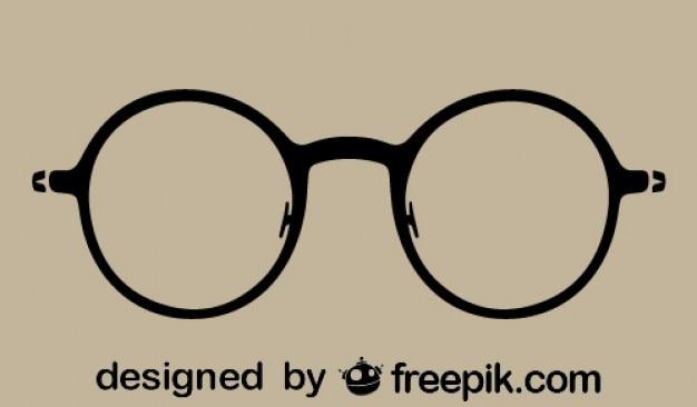 Круглый старинные очки силуэт значок