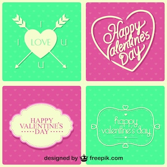 ヴィンテージデザインのはがきのバレンタインデーセット