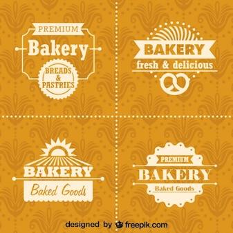 レトロなパン屋のロゴやバッジセット