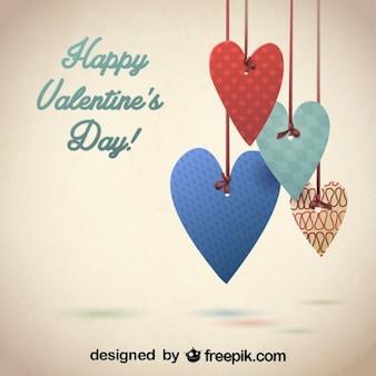 Ретро декоративные сердца дизайн для валентина