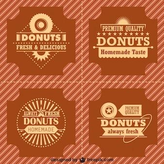 Ретро пончики логотипы и значки, установленные