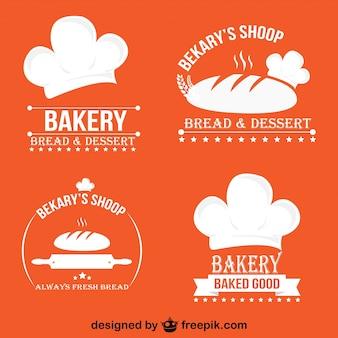 設定ミニマルレトロなパン屋ロゴやバッジ
