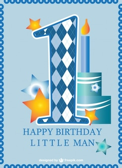 最初の誕生日カードの男の子