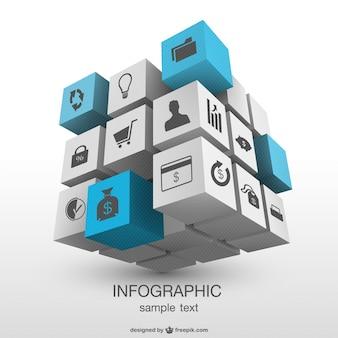 三次元立方体のインフォグラフィック