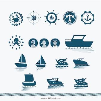 船のシルエットベクトル