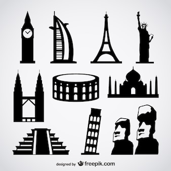 海外の有名な建物のベクトル