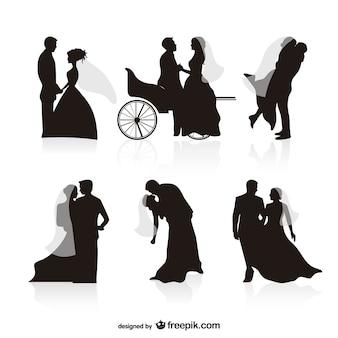 結婚式のシルエットベクトル