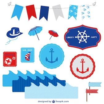 Морской векторные элементы