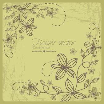 Ретро гранж цветочный вектор искусства