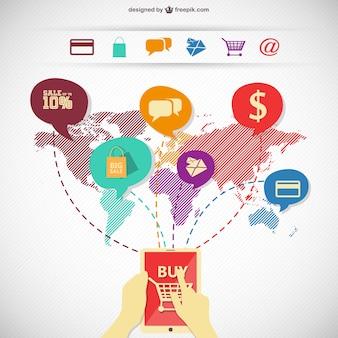 Покупок в интернете инфографики изображение