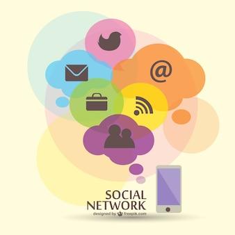ソーシャルネットワークのフラットベクターグラフィック