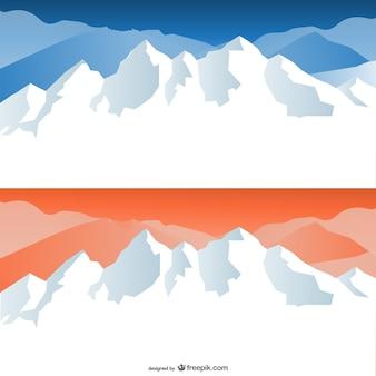 漫画の雪をかぶった山々のベクター素材