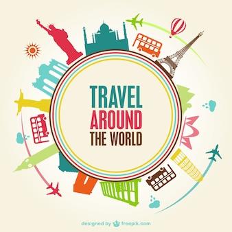 世界を旅ベクトル無料のテンプレート