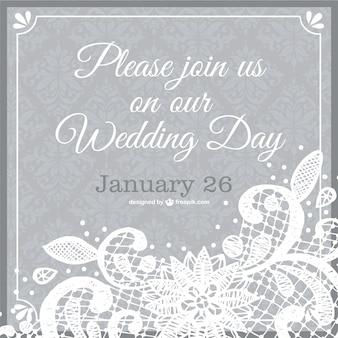 結婚式の招待状のレースのテンプレート