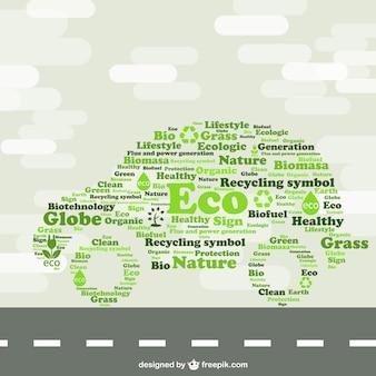 グリーン車のエコロジーのコンセプトイラスト