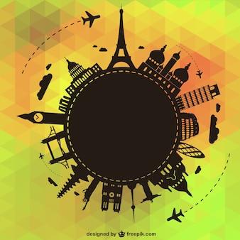 世界のベクトル図を旅行