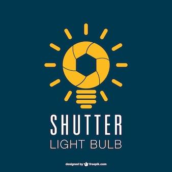 写真撮影のシャッター電球のロゴ