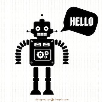 ベクトルロボットの無料シルエットデザイン