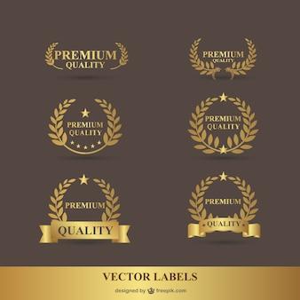 プレミアムローレル黄金のベクトルグラフィック