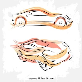 Автомобили линии искусства рисования вектор