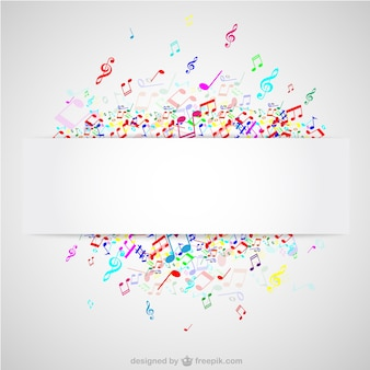 カラフルな音符の音楽ベクトルの背景