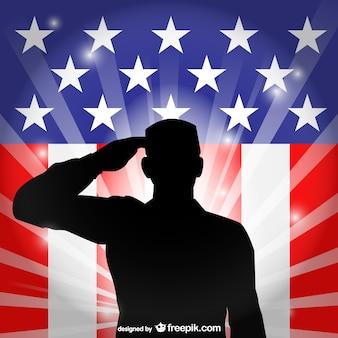 アメリカ合衆国旗の敬礼ベクトル