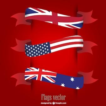 Вектор сша великобритания флаги