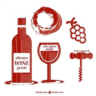 セットレトロなワインのグラフィック要素
