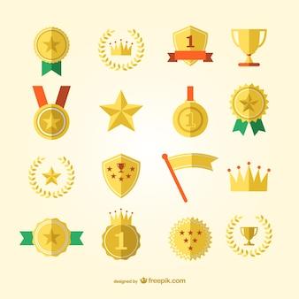 スポーツ賞、メダルベクトルセット