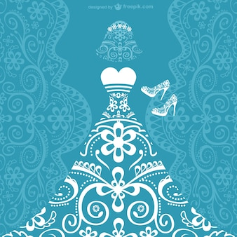 ウェディングドレスのベクトルカード